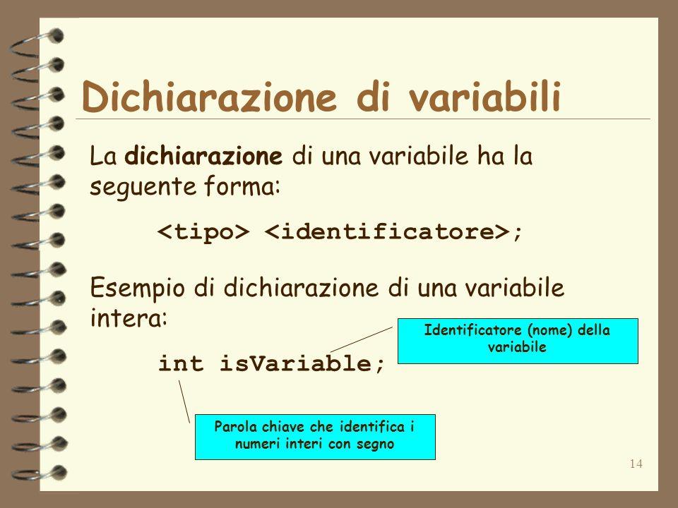 14 Dichiarazione di variabili La dichiarazione di una variabile ha la seguente forma: ; Esempio di dichiarazione di una variabile intera: int isVariable; Parola chiave che identifica i numeri interi con segno Identificatore (nome) della variabile