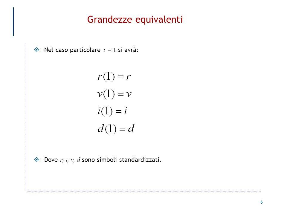 6 Grandezze equivalenti Nel caso particolare t = 1 si avrà: Dove r, i, v, d sono simboli standardizzati.
