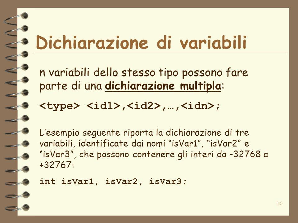 10 Dichiarazione di variabili Lesempio seguente riporta la dichiarazione di tre variabili, identificate dai nomi isVar1, isVar2 e isVar3, che possono contenere gli interi da -32768 a +32767: int isVar1, isVar2, isVar3; n variabili dello stesso tipo possono fare parte di una dichiarazione multipla:,,…, ;
