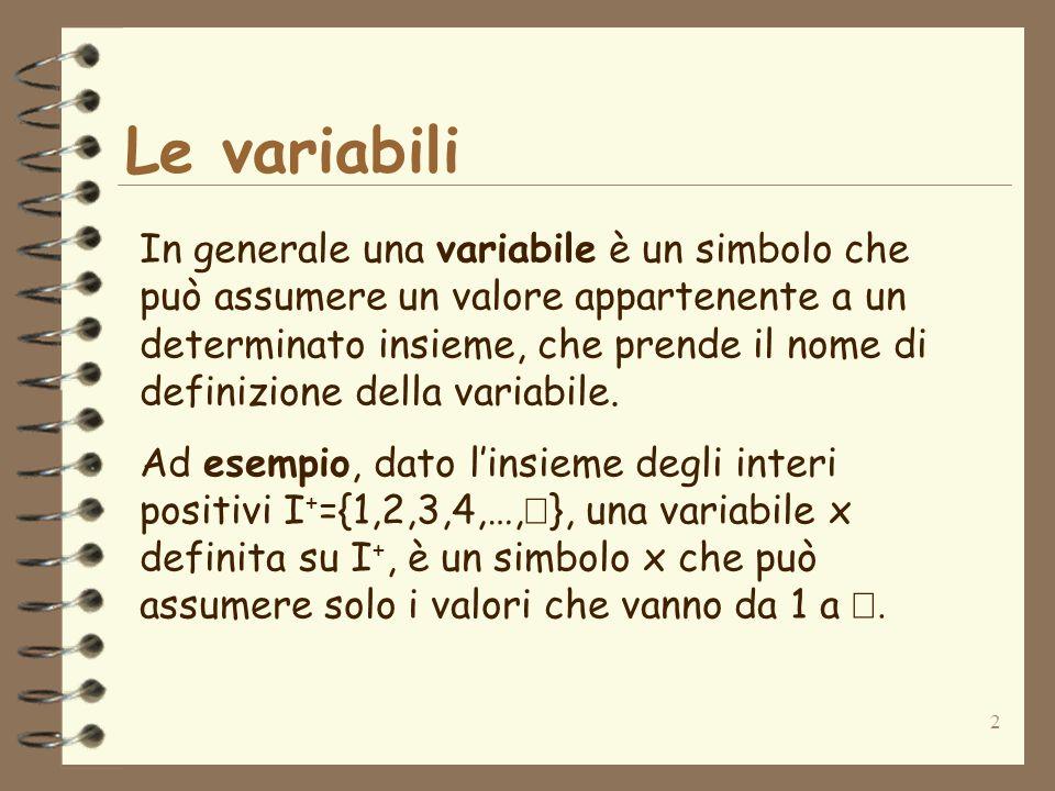 2 Le variabili In generale una variabile è un simbolo che può assumere un valore appartenente a un determinato insieme, che prende il nome di definizione della variabile.