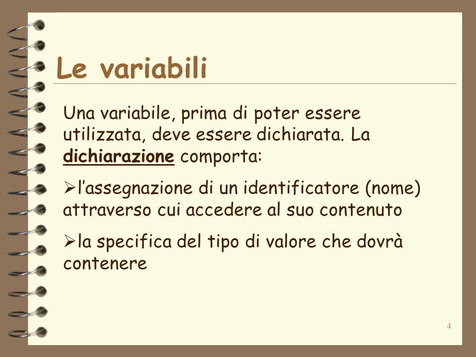 4 Le variabili Una variabile, prima di poter essere utilizzata, deve essere dichiarata.