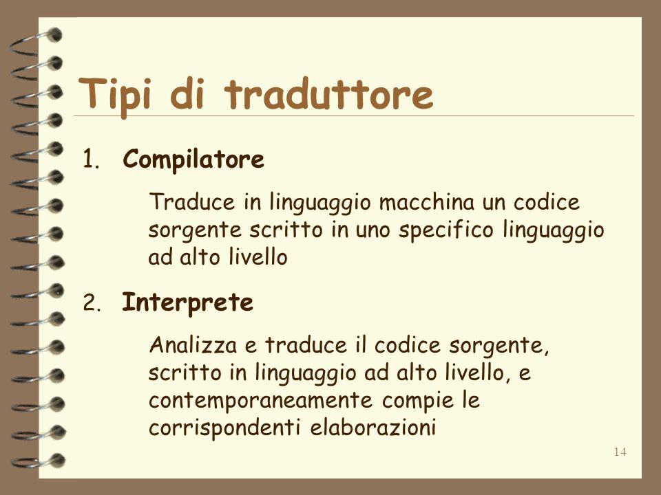 14 Tipi di traduttore 1. Compilatore Traduce in linguaggio macchina un codice sorgente scritto in uno specifico linguaggio ad alto livello 2. Interpre