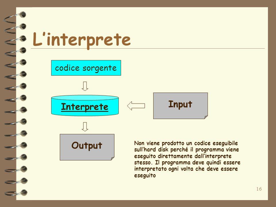 16 Linterprete Interprete Input Output Non viene prodotto un codice eseguibile sullhard disk perché il programma viene eseguito direttamente dallinter