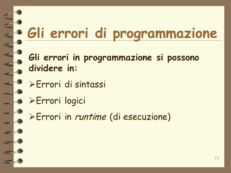 19 Gli errori di programmazione Gli errori in programmazione si possono dividere in: Errori di sintassi Errori logici Errori in runtime (di esecuzione