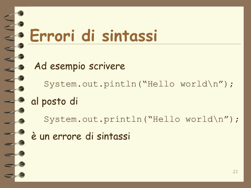 21 Errori di sintassi Ad esempio scrivere System.out.pintln(Hello world\n); al posto di System.out.println(Hello world\n); è un errore di sintassi