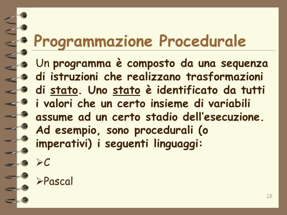 28 Programmazione Procedurale Un programma è composto da una sequenza di istruzioni che realizzano trasformazioni di stato. Uno stato è identificato d