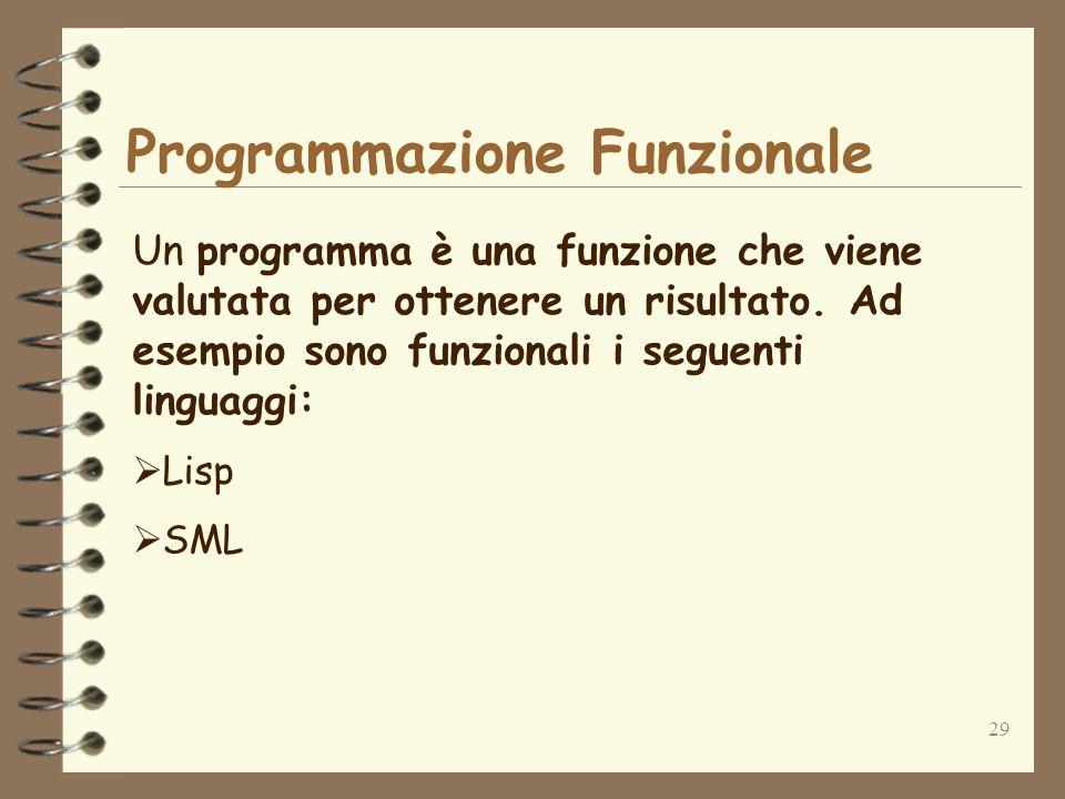 29 Programmazione Funzionale Un programma è una funzione che viene valutata per ottenere un risultato. Ad esempio sono funzionali i seguenti linguaggi