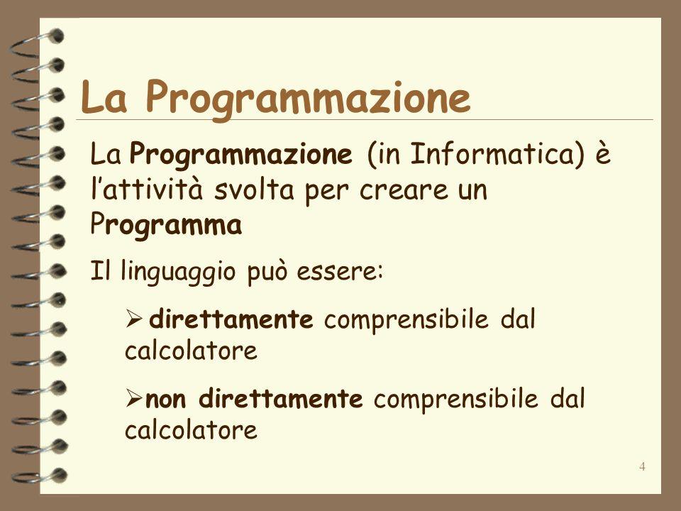 4 La Programmazione La Programmazione (in Informatica) è lattività svolta per creare un Programma Il linguaggio può essere: direttamente comprensibile