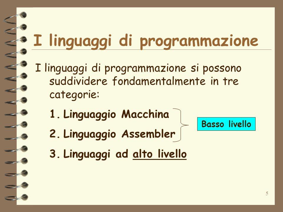 5 I linguaggi di programmazione I linguaggi di programmazione si possono suddividere fondamentalmente in tre categorie: 1.Linguaggio Macchina 2.Lingua