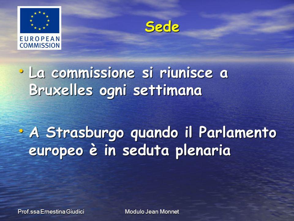 Prof.ssa Ernestina GiudiciModulo Jean Monnet La commissione si riunisce a Bruxelles ogni settimana La commissione si riunisce a Bruxelles ogni settimana A Strasburgo quando il Parlamento europeo è in seduta plenaria A Strasburgo quando il Parlamento europeo è in seduta plenaria Sede