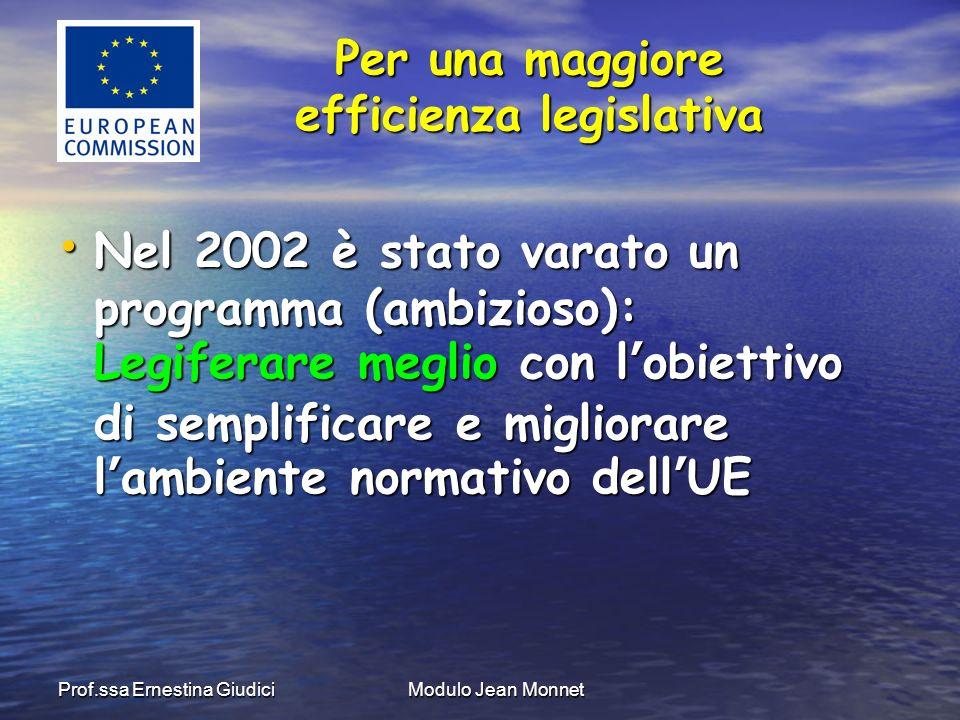 Prof.ssa Ernestina GiudiciModulo Jean Monnet Nel 2002 è stato varato un programma (ambizioso): Legiferare meglio con lobiettivo di semplificare e migliorare lambiente normativo dellUE Nel 2002 è stato varato un programma (ambizioso): Legiferare meglio con lobiettivo di semplificare e migliorare lambiente normativo dellUE Per una maggiore efficienza legislativa