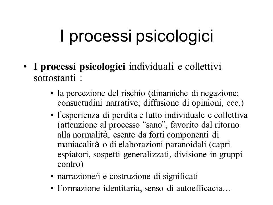 I processi psicologici I processi psicologici individuali e collettivi sottostanti : la percezione del rischio (dinamiche di negazione; consuetudini n