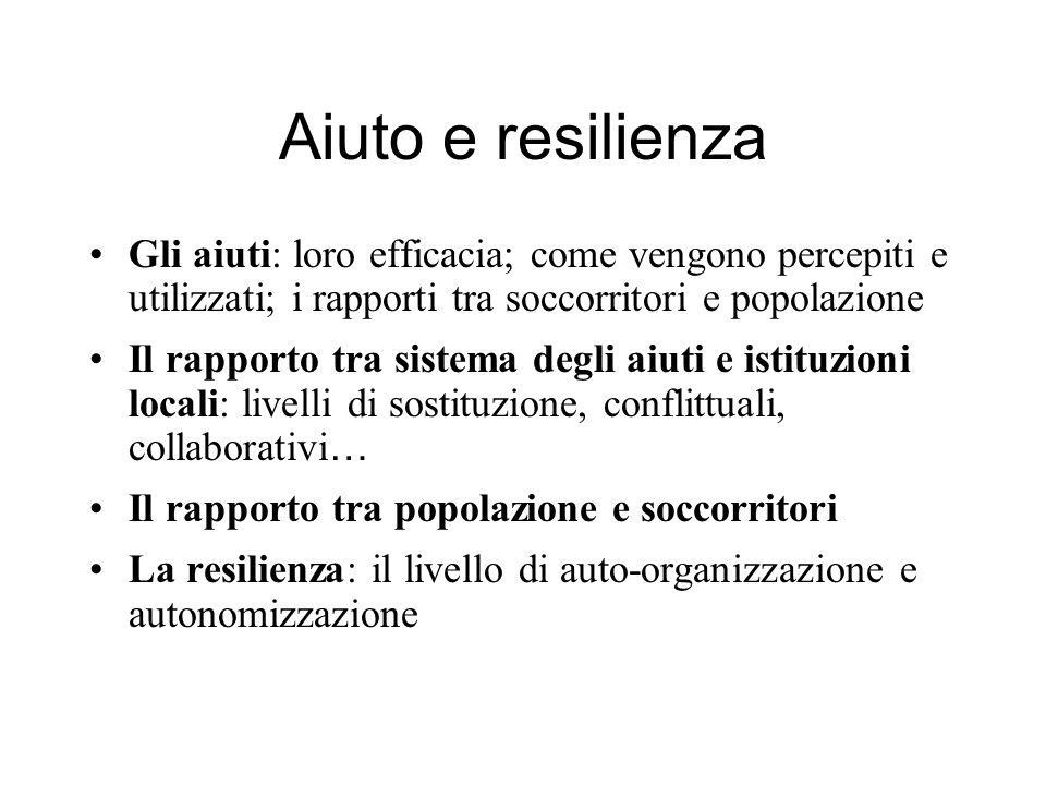 Aiuto e resilienza Gli aiuti: loro efficacia; come vengono percepiti e utilizzati; i rapporti tra soccorritori e popolazione Il rapporto tra sistema d
