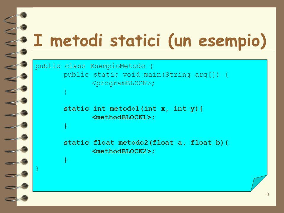 14 Invocazione dei metodi (esempio) public class AreaTrapezio { public static void main(String arg[]) { int base1=20, base2=10, altezza=5; int areaTrapezio; areaTrapezio=areaTrapezio(base1, base2, altezza); System.out.println(Area=+areaTrapezio); } static int areaTrapezio(int b1, int b2, int h){ int area; area=b1+b2; area=area*h/2; return area; }