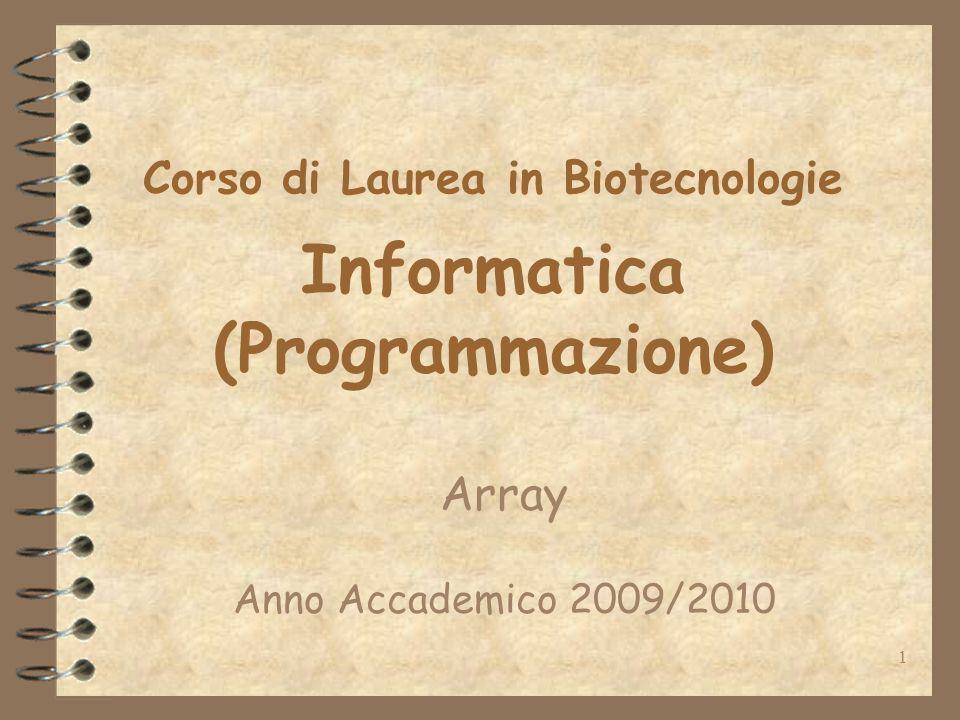 2 Gli array In programmazione un array (o vettore) rappresenta una collezione di N successive locazioni di memoria sul calcolatore destinate a contenere dati.