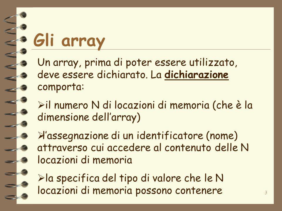 14 Accesso ai valori di un array Il codice seguente: int[] iArray=new int[4]; iArray[0]=10; iArray[1]=20; iArray[2]=30; iArray[3]=40; dichiara un array di 4 interi di tipo int, e poi assegna come primo valore (in posizione 0) lintero 10, come secondo valore (in posizione 1) lintero 20, come terzo valore (in posizione 2) lintero 30 e come quarto valore (in posizione 3) lintero 40.