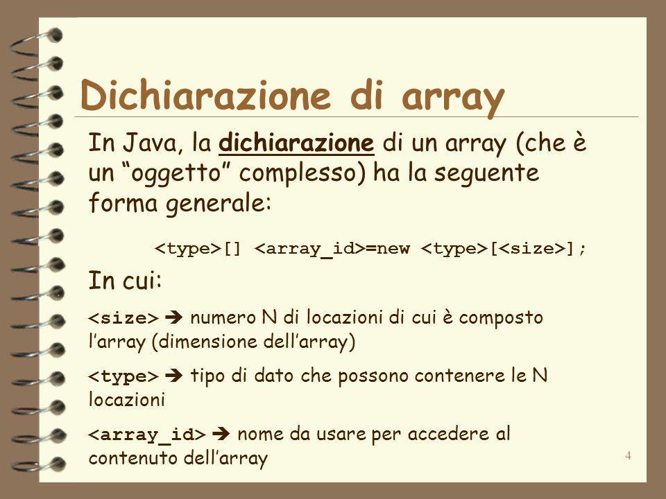 4 Dichiarazione di array In Java, la dichiarazione di un array (che è un oggetto complesso) ha la seguente forma generale: [] =new [ ]; In cui: numero N di locazioni di cui è composto larray (dimensione dellarray) tipo di dato che possono contenere le N locazioni nome da usare per accedere al contenuto dellarray