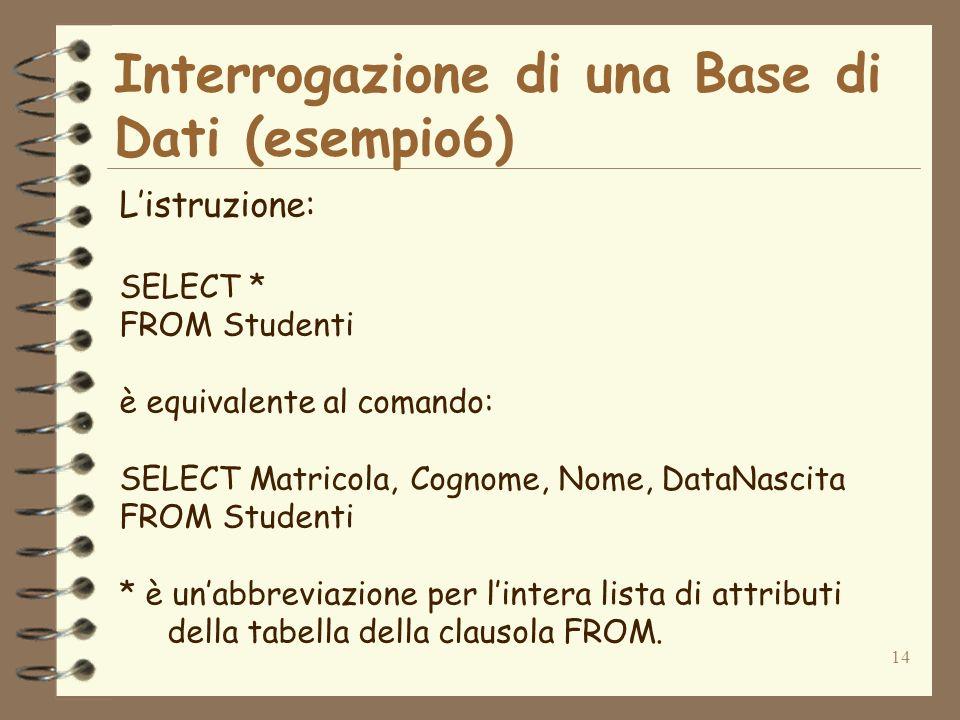 14 Interrogazione di una Base di Dati (esempio6) Listruzione: SELECT * FROM Studenti è equivalente al comando: SELECT Matricola, Cognome, Nome, DataNascita FROM Studenti * è unabbreviazione per lintera lista di attributi della tabella della clausola FROM.