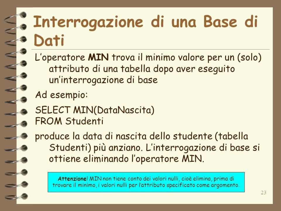 23 Interrogazione di una Base di Dati Loperatore MIN trova il minimo valore per un (solo) attributo di una tabella dopo aver eseguito uninterrogazione