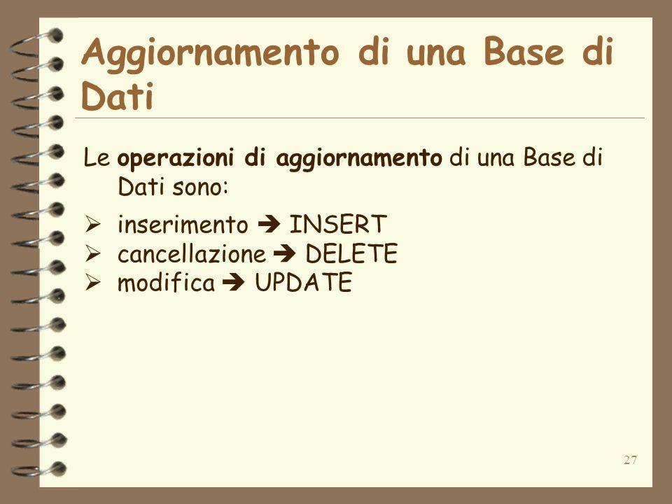 27 Aggiornamento di una Base di Dati Le operazioni di aggiornamento di una Base di Dati sono: inserimento INSERT cancellazione DELETE modifica UPDATE