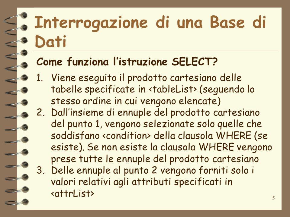 5 Interrogazione di una Base di Dati Come funziona listruzione SELECT? 1.Viene eseguito il prodotto cartesiano delle tabelle specificate in (seguendo