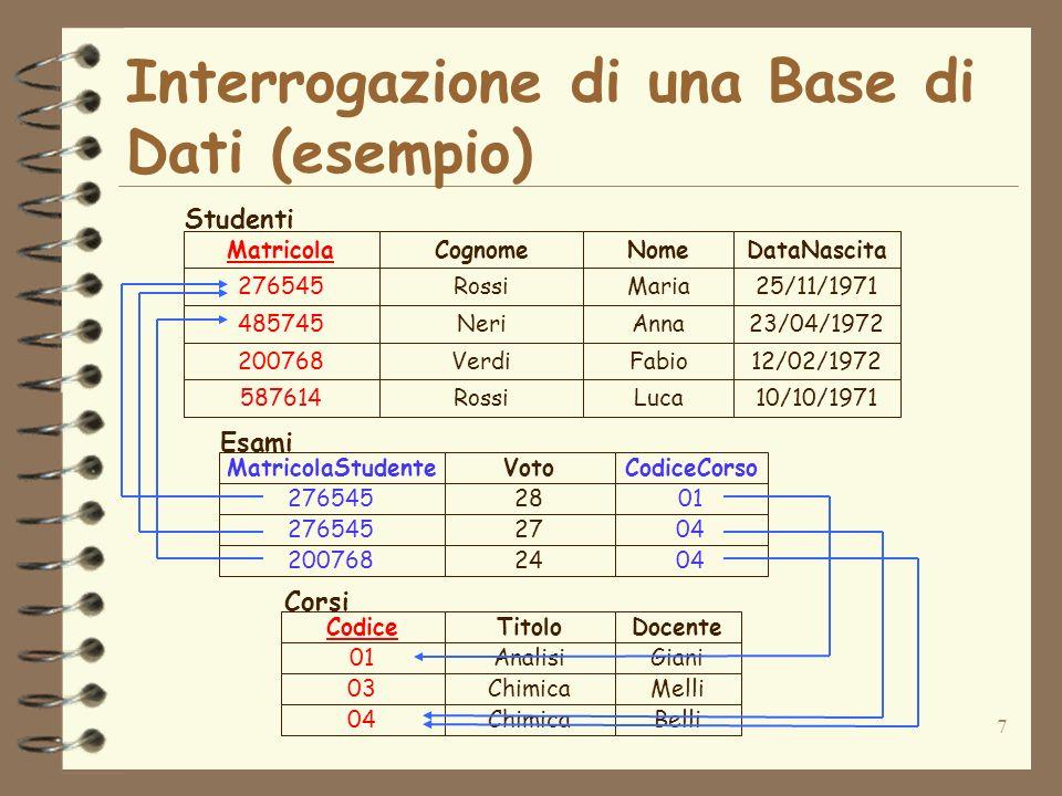 7 Interrogazione di una Base di Dati (esempio) 276545Rossi 485745Neri 200768Verdi 587614Rossi Maria Anna Fabio Luca 25/11/1971 23/04/1972 12/02/1972 1