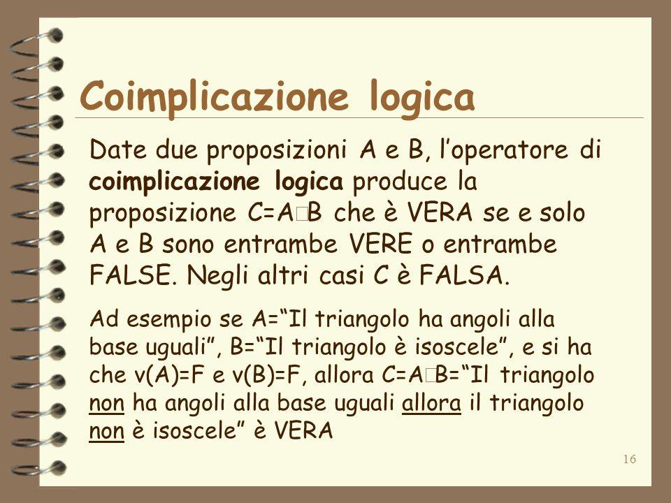 16 Coimplicazione logica Date due proposizioni A e B, loperatore di coimplicazione logica produce la proposizione C=A B che è VERA se e solo A e B son