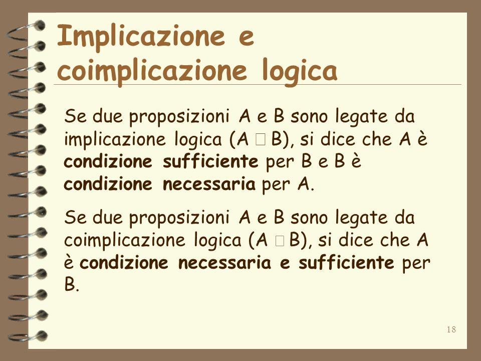 18 Implicazione e coimplicazione logica Se due proposizioni A e B sono legate da implicazione logica (A B), si dice che A è condizione sufficiente per