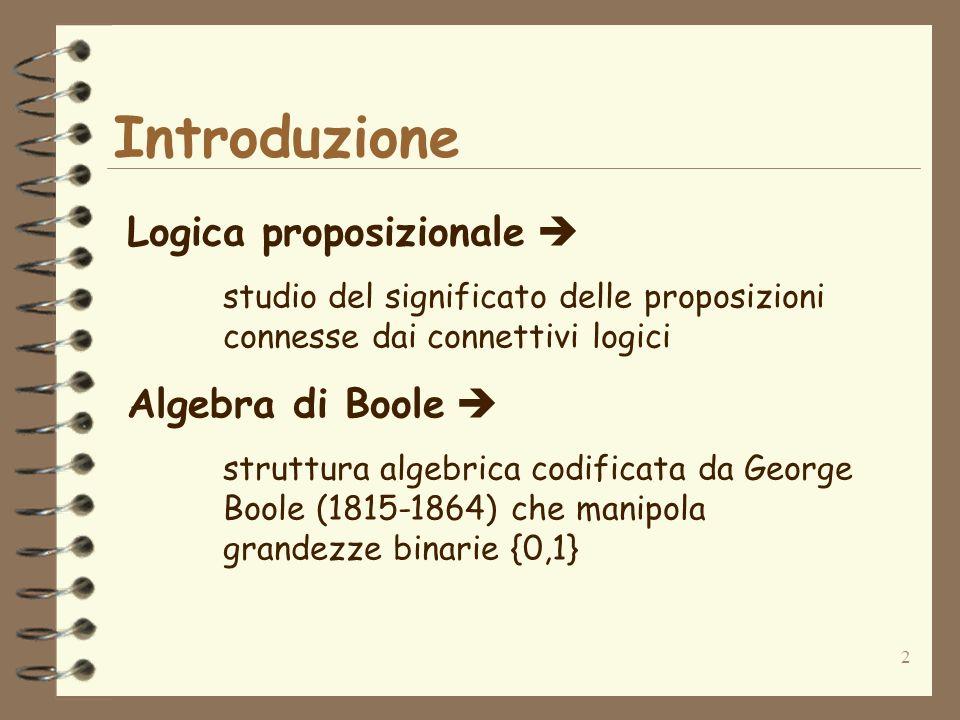 2 Introduzione Logica proposizionale studio del significato delle proposizioni connesse dai connettivi logici Algebra di Boole struttura algebrica cod