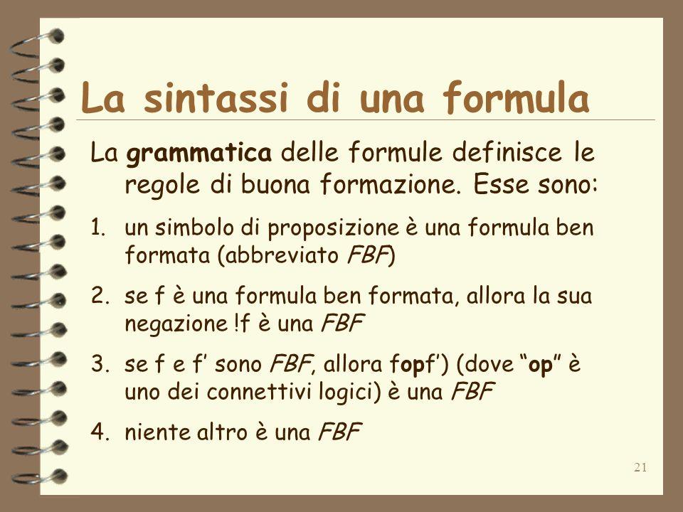 21 La sintassi di una formula La grammatica delle formule definisce le regole di buona formazione. Esse sono: 1.un simbolo di proposizione è una formu