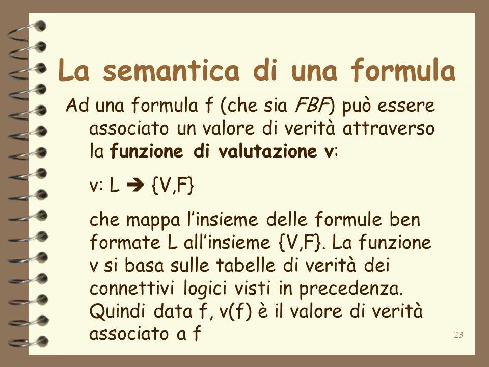 23 La semantica di una formula Ad una formula f (che sia FBF) può essere associato un valore di verità attraverso la funzione di valutazione v: v: L {