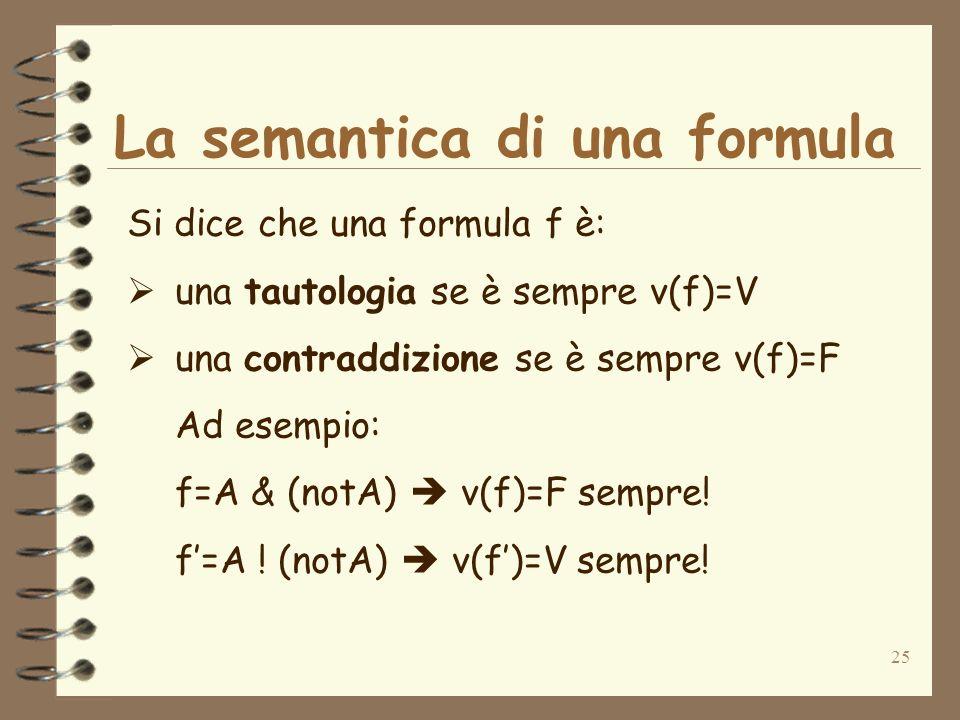 25 La semantica di una formula Si dice che una formula f è: una tautologia se è sempre v(f)=V una contraddizione se è sempre v(f)=F Ad esempio: f=A &