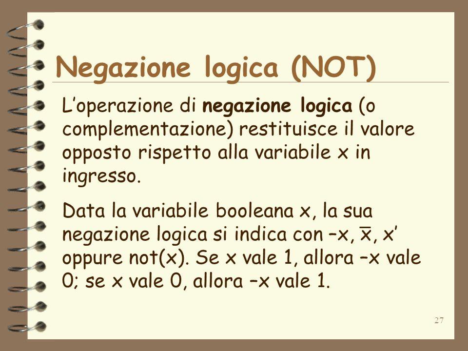 27 Negazione logica (NOT) Loperazione di negazione logica (o complementazione) restituisce il valore opposto rispetto alla variabile x in ingresso. Da