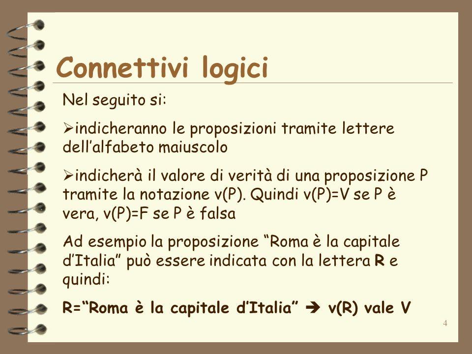 4 Connettivi logici Nel seguito si: indicheranno le proposizioni tramite lettere dellalfabeto maiuscolo indicherà il valore di verità di una proposizi