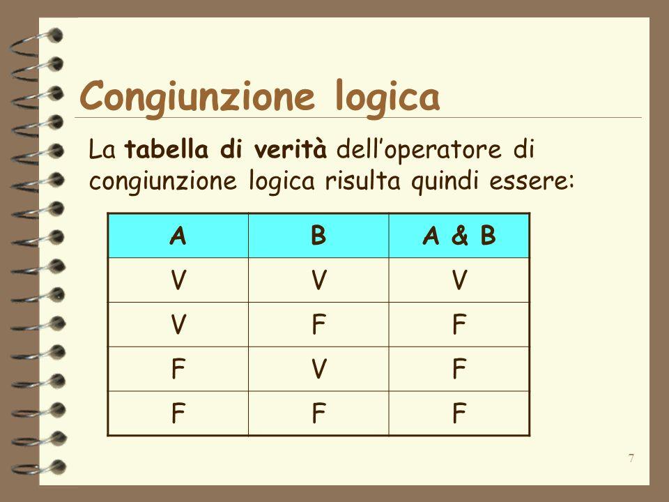 7 La tabella di verità delloperatore di congiunzione logica risulta quindi essere: ABA & B VVV VFF FVF FFF Congiunzione logica