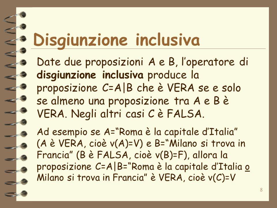 8 Disgiunzione inclusiva Date due proposizioni A e B, loperatore di disgiunzione inclusiva produce la proposizione C=A|B che è VERA se e solo se almen