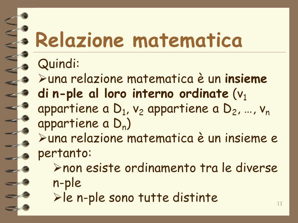 11 Relazione matematica Quindi: una relazione matematica è un insieme di n-ple al loro interno ordinate (v 1 appartiene a D 1, v 2 appartiene a D 2, …