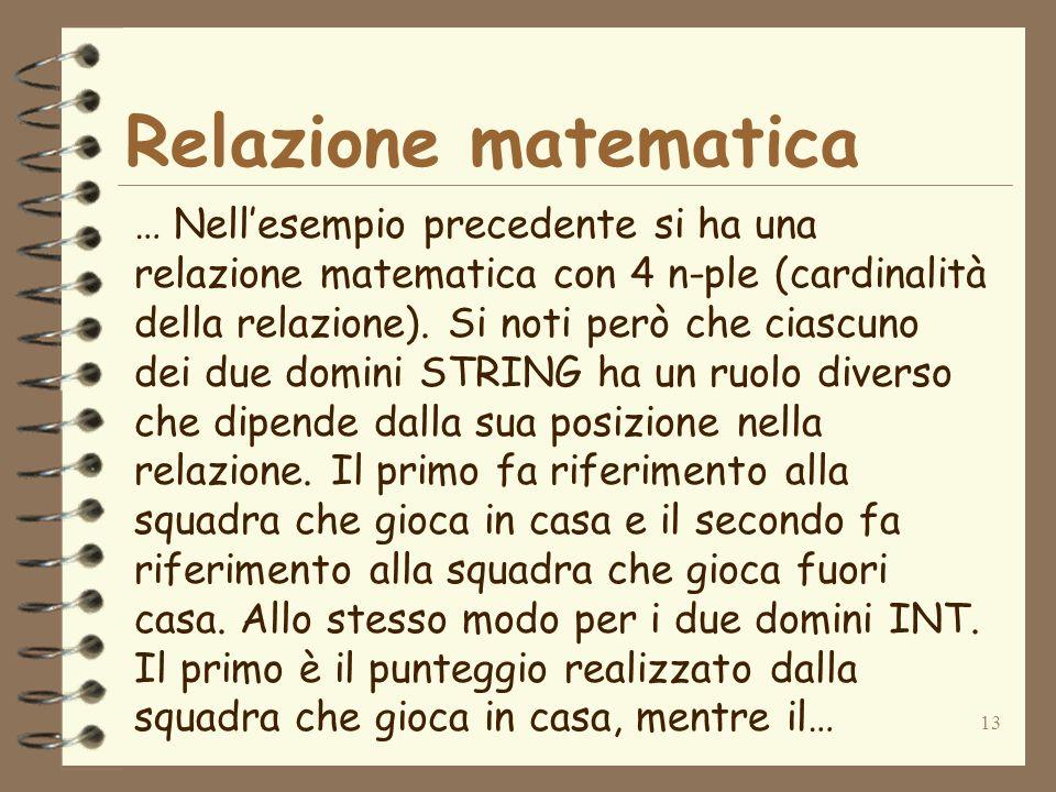13 Relazione matematica … Nellesempio precedente si ha una relazione matematica con 4 n-ple (cardinalità della relazione). Si noti però che ciascuno d