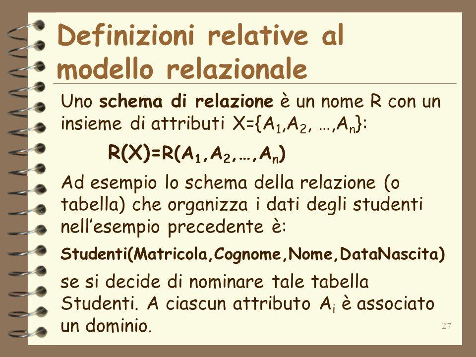 27 Definizioni relative al modello relazionale Uno schema di relazione è un nome R con un insieme di attributi X={A 1,A 2, …,A n }: R(X)= R(A 1,A 2,…,