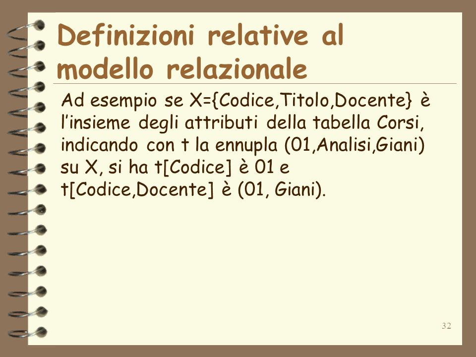 32 Definizioni relative al modello relazionale Ad esempio se X={Codice,Titolo,Docente} è linsieme degli attributi della tabella Corsi, indicando con t