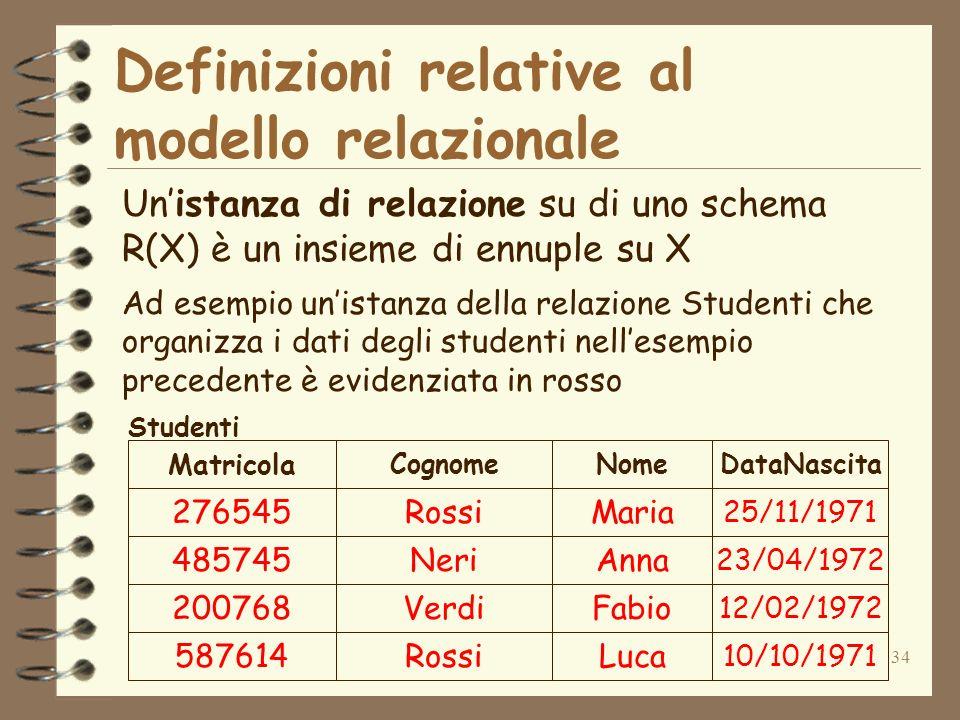 34 Definizioni relative al modello relazionale Unistanza di relazione su di uno schema R(X) è un insieme di ennuple su X Ad esempio unistanza della re