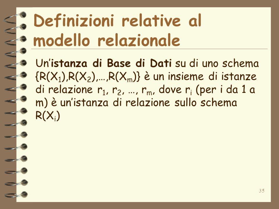 35 Definizioni relative al modello relazionale Unistanza di Base di Dati su di uno schema {R(X 1 ),R(X 2 ),…,R(X m )} è un insieme di istanze di relaz