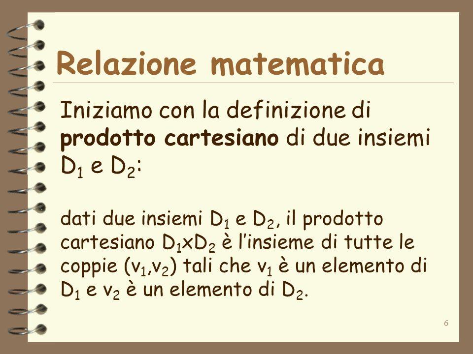 6 Relazione matematica Iniziamo con la definizione di prodotto cartesiano di due insiemi D 1 e D 2 : dati due insiemi D 1 e D 2, il prodotto cartesian