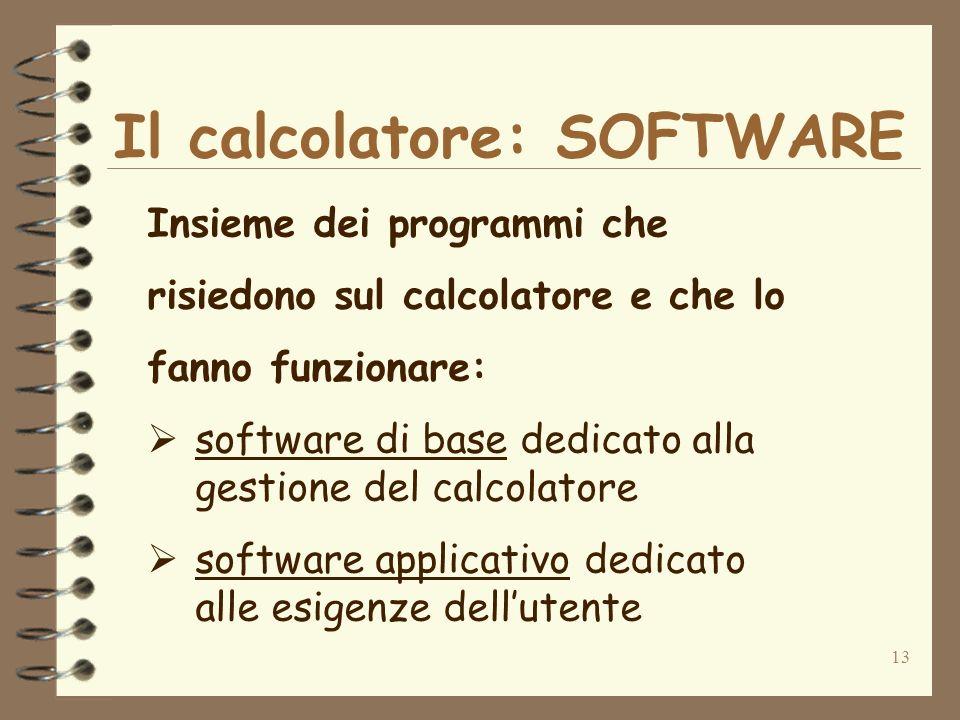 13 Il calcolatore: SOFTWARE Insieme dei programmi che risiedono sul calcolatore e che lo fanno funzionare: software di base dedicato alla gestione del calcolatore software applicativo dedicato alle esigenze dellutente