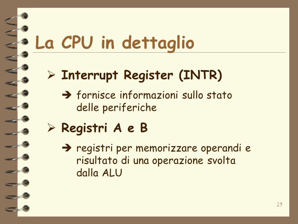 25 La CPU in dettaglio Interrupt Register (INTR) fornisce informazioni sullo stato delle periferiche Registri A e B registri per memorizzare operandi