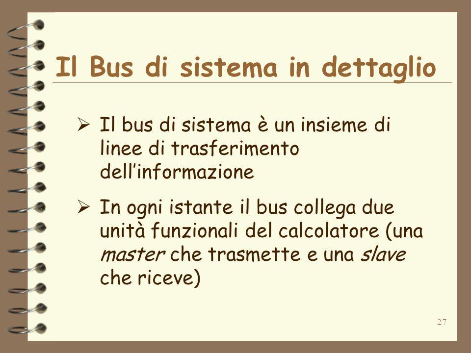 27 Il Bus di sistema in dettaglio Il bus di sistema è un insieme di linee di trasferimento dellinformazione In ogni istante il bus collega due unità funzionali del calcolatore (una master che trasmette e una slave che riceve)