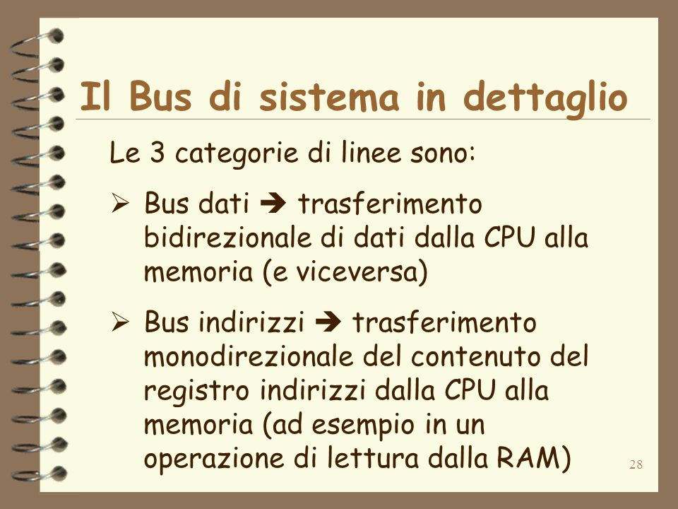28 Il Bus di sistema in dettaglio Le 3 categorie di linee sono: Bus dati trasferimento bidirezionale di dati dalla CPU alla memoria (e viceversa) Bus