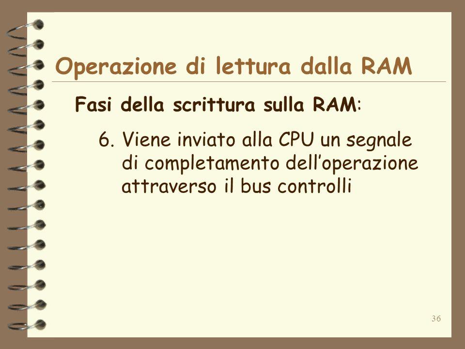 36 Operazione di lettura dalla RAM Fasi della scrittura sulla RAM: 6.Viene inviato alla CPU un segnale di completamento delloperazione attraverso il b