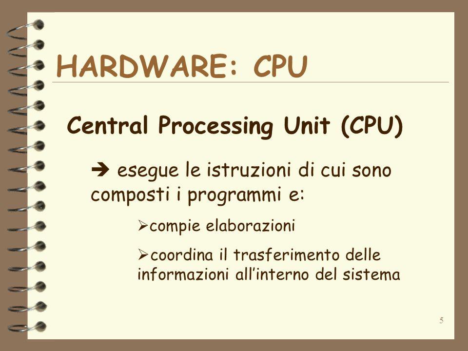 5 HARDWARE: CPU Central Processing Unit (CPU) esegue le istruzioni di cui sono composti i programmi e: compie elaborazioni coordina il trasferimento d