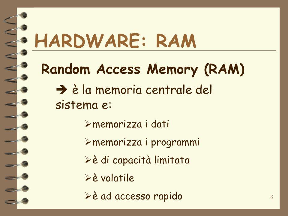 6 HARDWARE: RAM Random Access Memory (RAM) è la memoria centrale del sistema e: memorizza i dati memorizza i programmi è di capacità limitata è volati